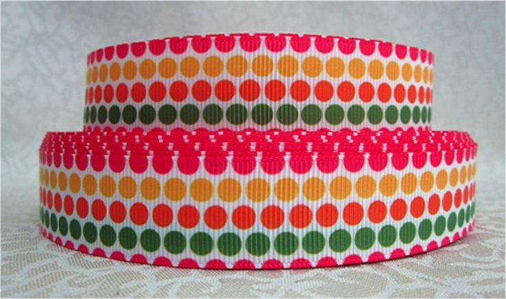 1 Yard 7/8 inch DOTS (Compliments Chevron Pumpkins) - THANKSGIVING - Printed Grosgrain Ribbon