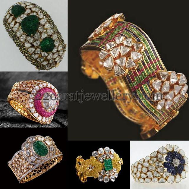 Jewellery Designs: Diamond Polki Broad Bangles