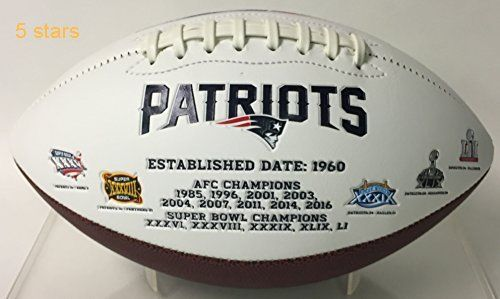 New England Patriots Embroidered Logo Signature Series Full Size Football  with Super Bowl 51 LI logo and final score