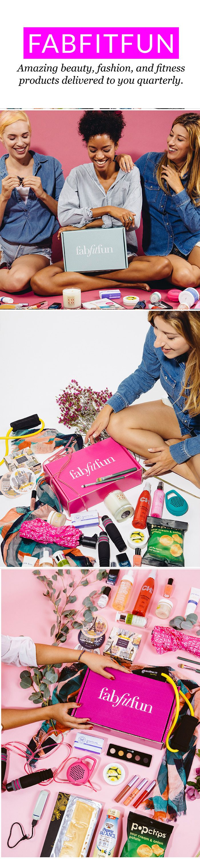 Feel fabulous even on a budget with FabFitFun's must-have box! Each season we send the season's best straight to your doorstep: full size, premium beauty, fashion, and fitness products. Every item in the box is hand-picked by our staff to make you feel happy, healthy, and ahead of the trend. Get started with a life well-lived and get your box with over $200 worth of amazing products!