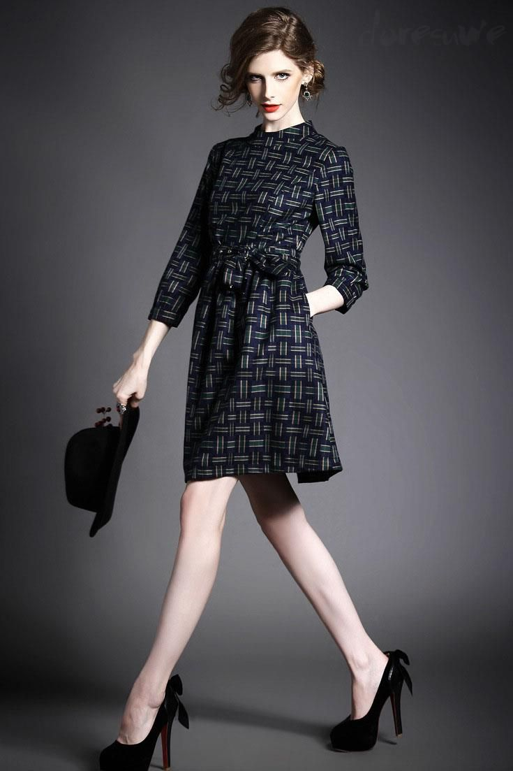 Doresuwe.com SUPPLIES ヨーロッパ2015秋新レディースファッション 気質セレブ七分Aーラインワンピース デートワンピース (10)
