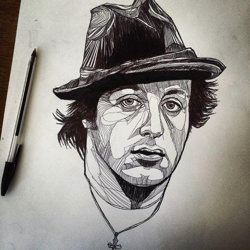 Rocky Balboa - Ink Drawing - Original artwork