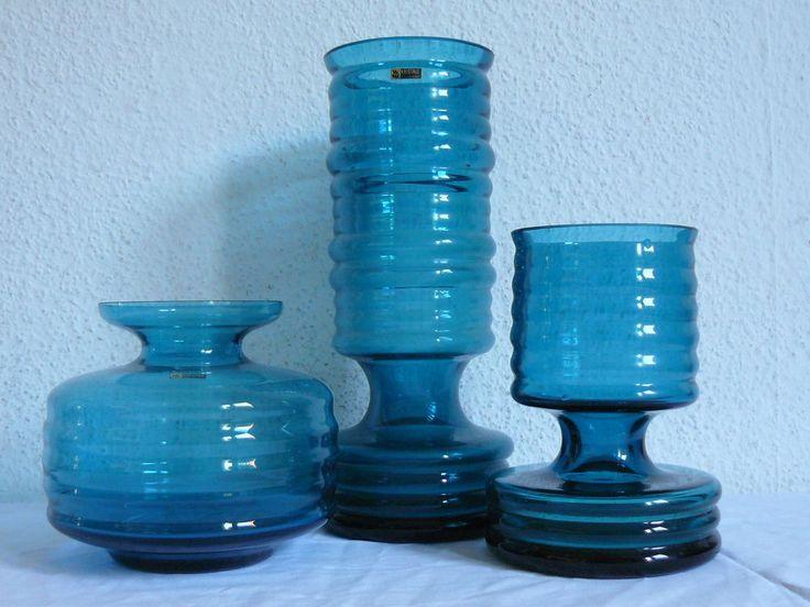 CARI ZALLONI für WMF Kristall Konvolut von 3 blauen Vasen 70er Jahre