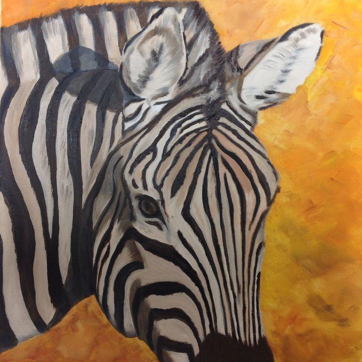 Zebra, olieverf 30 x 30 cm