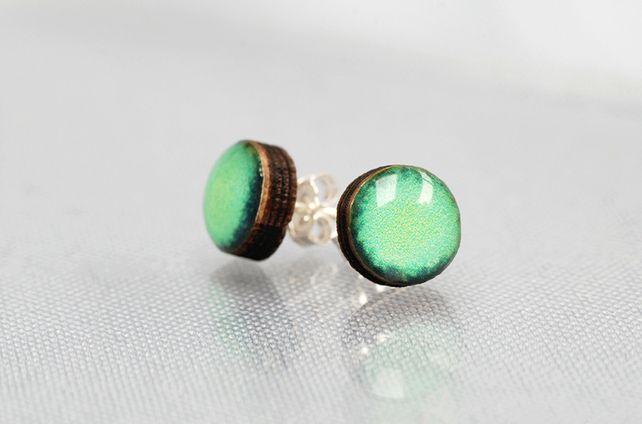 Jade green laser Cut stud earrings £13.00