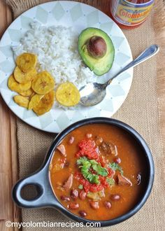 Receta de Frijoles Colombianos or Colombian Beans (Healthy suggestion: remove pork hock, just cook beans in carrots & plantains, and remove ground beef - beans plus rice is a complete protein)
