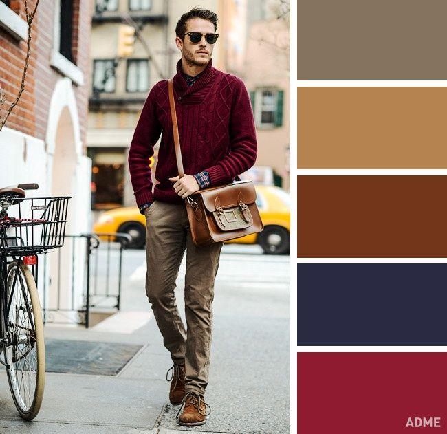 5. El marrón y color vino es otra combinación vibrante y viva que puedes usar en invierno. Claro, esta es más sútil que la anterior que vimos.