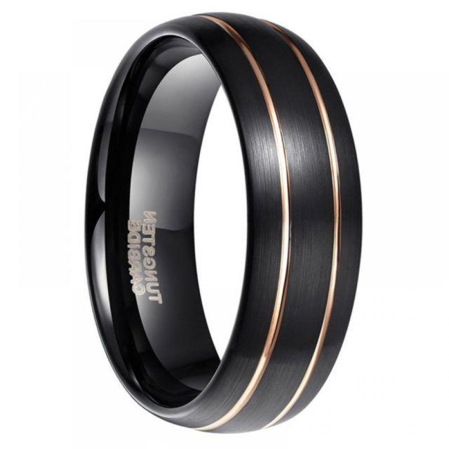Black Tungsten Carbide Mens Wedding Band 8mm Size 8 13 In 2020 Tungsten Mens Rings Mens Wedding Bands Tungsten Carbide Mens Wedding Bands