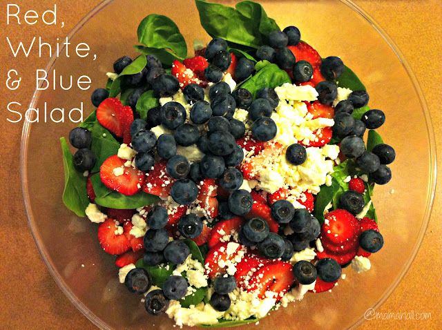 Red, White, & Blue Salad  I used a bag mixed salad greens, sliced strawberries,   whole blueberries, crumbled feta  and Raspberry Vinaigrette dressing. The salad was delicious.