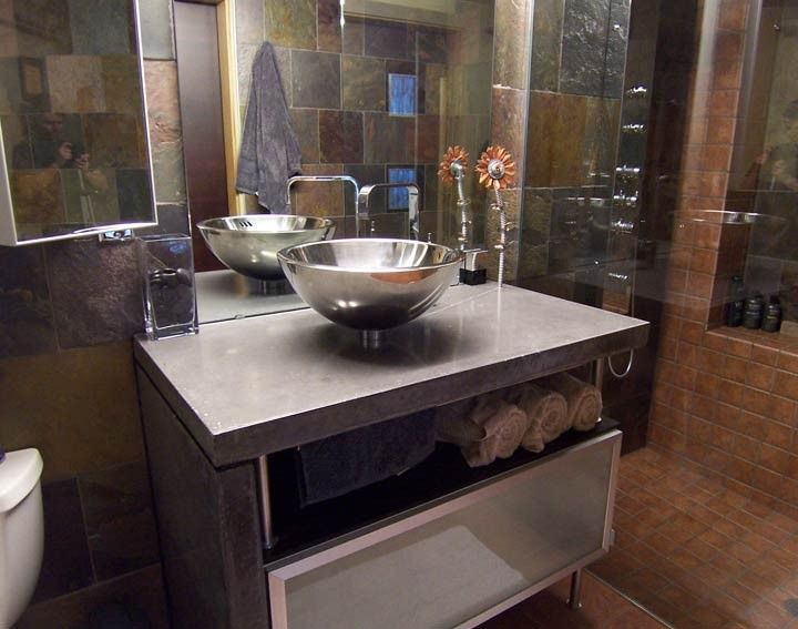High Quality Bath : Concrete Countertop With Stainless Sink, CHENG Pro Formula Mix In  Stone