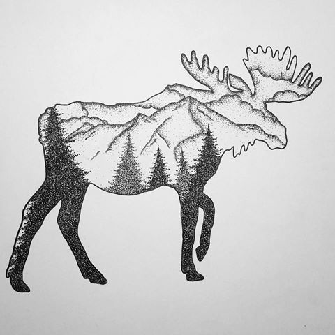 Image result for dotwork  moose tattoo                                                                                                                                                                                 More