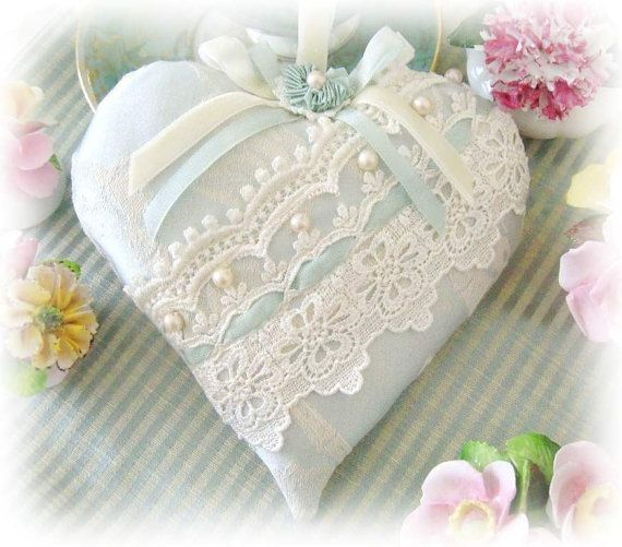 Heart Pillow 6 X 6 Door Hanger Aqua Damask with by CharlotteStyle, $21.00