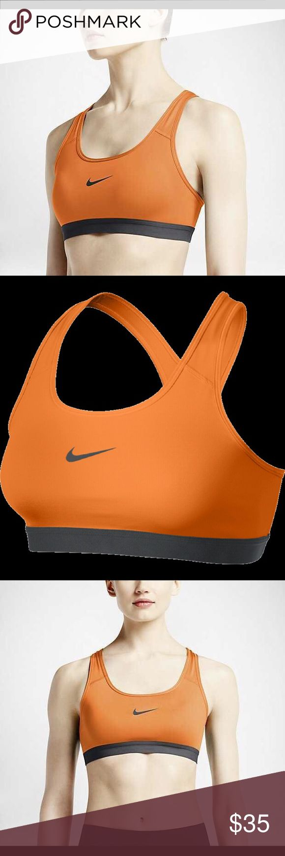 NIKE Pro Classic Orange Sports Bra! NWT! New with tags, never worn! Nike Pro Classic Dri-FIT unpadded sports bra with 360 degree medium support. Racerback style for full range of motion. Compression fit provides support for mid-impact activities. Flat seams and an elastic band for a secure and comfortable fit. Orange body with dark charcoal grey band and swoosh (screen printed on the middle of the chest). Body and lining are 88% recycled polyester and 12% spandex. Bottom hem is 90% nylon and…