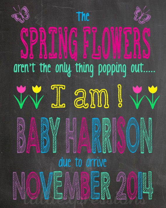 Pregnancy Announcement Spring Flowers By Lalaexpressions