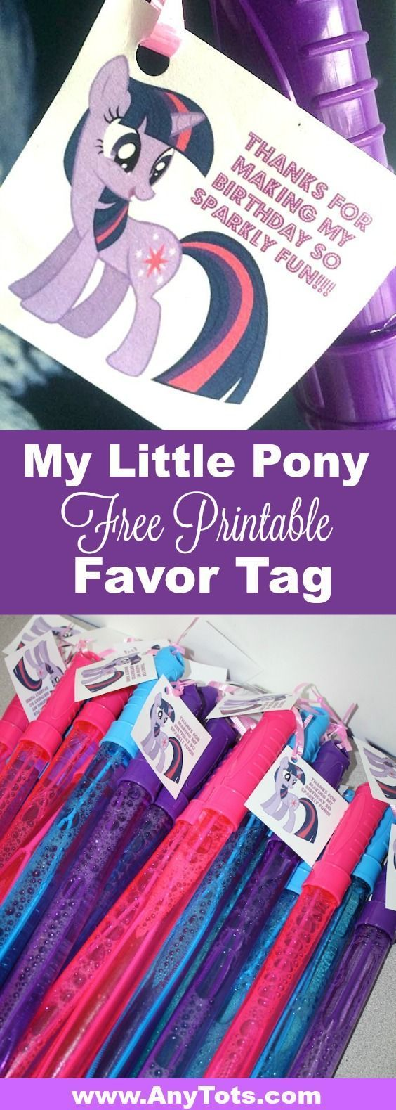 My Little Pony Party Ideas. Use our Free Printable My Little Pony Favor Tag. Check My Little Pony Cupcake, My Little Pony Balloon, and more. www.anytots.com