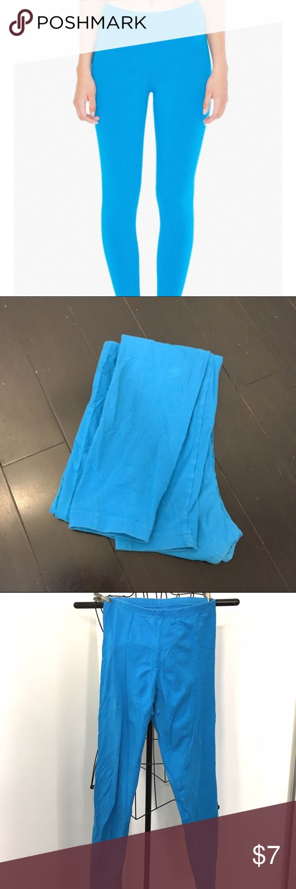 American Apparel teal cotton stretch leggings, XL American Apparel teal/turquoise cotton stretch leggings. Pre owned. A couple very slight faded spots from the wash. But sturdy and well made. American Apparel Pants Leggings