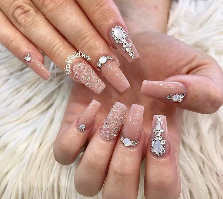 Pin by Beena on Nails Nails design with rhinestones