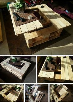 How to Build This Exquisite Multifunctional Coffee Table From Just Two Pallets ‪#‎DIY‬, ‪#‎coffeetable, #pallet, #Plan‬ => http://goo.gl/xuBkV1