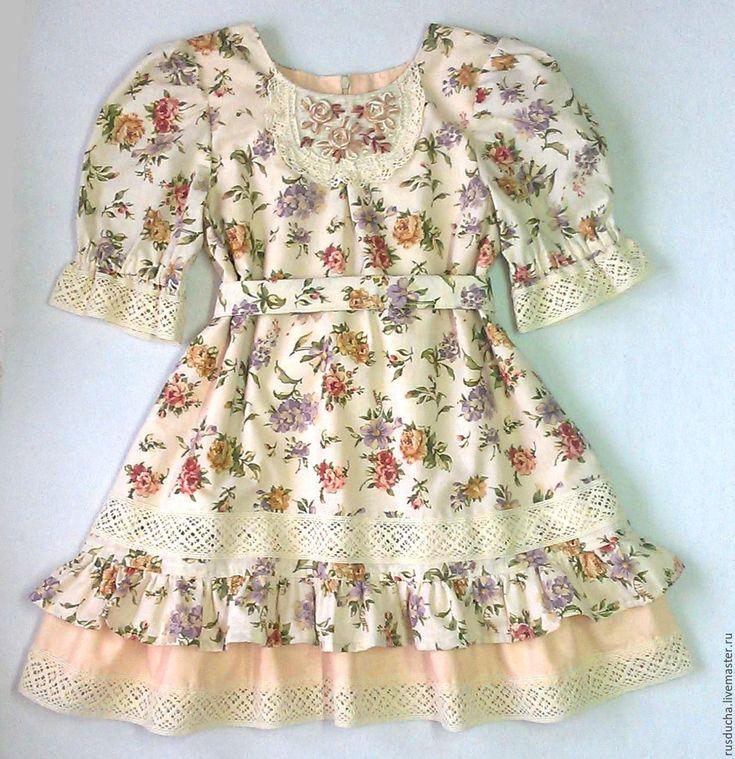 """Купить Платье для девочки """"Карамелька"""" Стиль БОХО Прованс. - бежевый, цветочный, платье"""