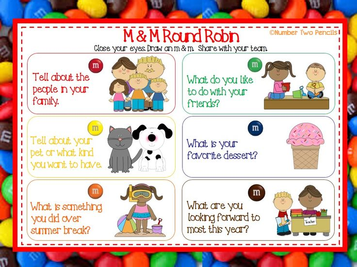 Use this fun M & M game to help students get to know one another while enough a treat! $