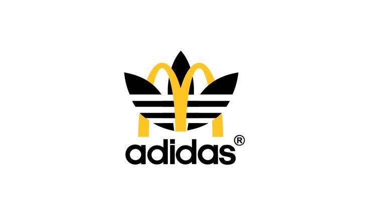 Sportswear x Fast Food logo design mashup: McDonalds x adidas #logo #mcdonalds #nike #adidas #fila #burgerking #dunkindonuts #kfc #champion #underarmour #subway #puma #jordan #pizzahut #dominos #fila