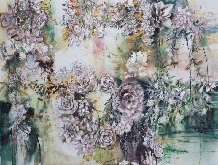 # watercolor # succulents # ink # garden # vertical # art #