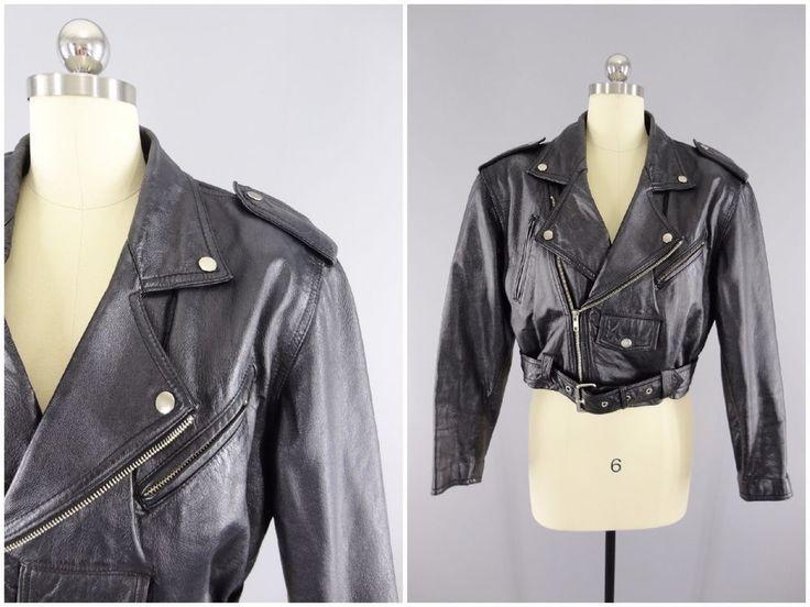 1980's Vintage Womens Leather Motorcycle Jacket Punk Rockabilly Metal CHIA Sz M #Chia