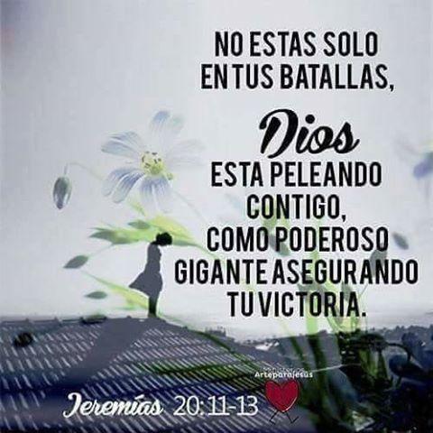 #NoEstasSolo en tus #batallas #DiosEstaContigo  #DiosPeleaPorTi #DiosEsMiTodo #LoMejorEstaPorVenir Feliz noche! Bendiciones