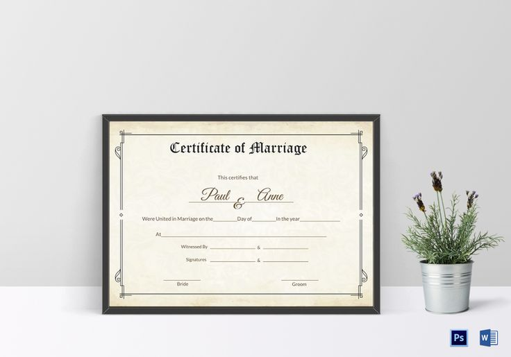 Classic Marriage Certificate Template  $12  Formats Included : MS Word, Photoshop  File Size : 11.69x8.26 Inchs #Certificates #weddingcertificates #Certificatedesigns