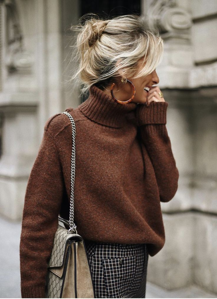 Chunky Turtleneck And Hoops Fashion Style Street Style