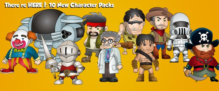 10x animated characters for your game development. Characters included in this pack include: Scientist Barbarian Clown ED 209 Robot Mercenary Caveman Cowboy Storm Trooper Pirate Knight Each character graphic comes with the following simple animations: Run Walk Strike Kick Jump Hit Die The files come in vector format (Ai, EPS and SVG) as well as [...]