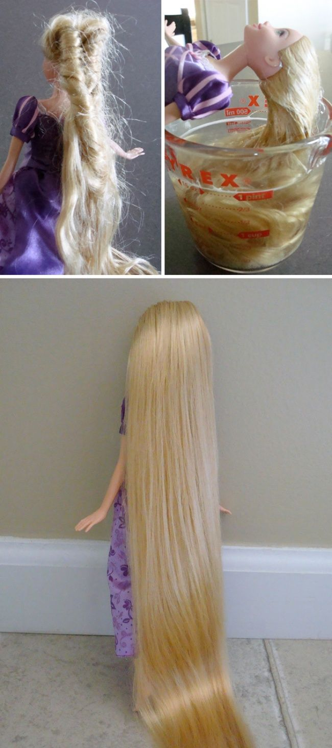 It will be easier to comb Rapunzel's hair after washing it with dish soap and hair conditioner.