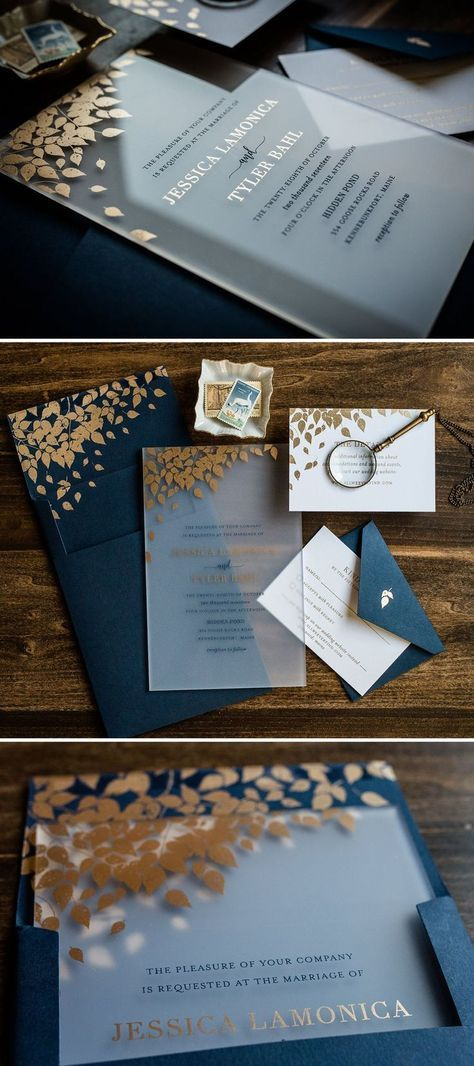 Autumn Acrylic Wedding Invitation by Penn & Paperie with Gold Leaves. Fall Weddi…