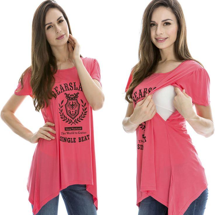 Maternity Breastfeeding Clothes Ice Silk Summer Tees Print Nursing Top/shirts