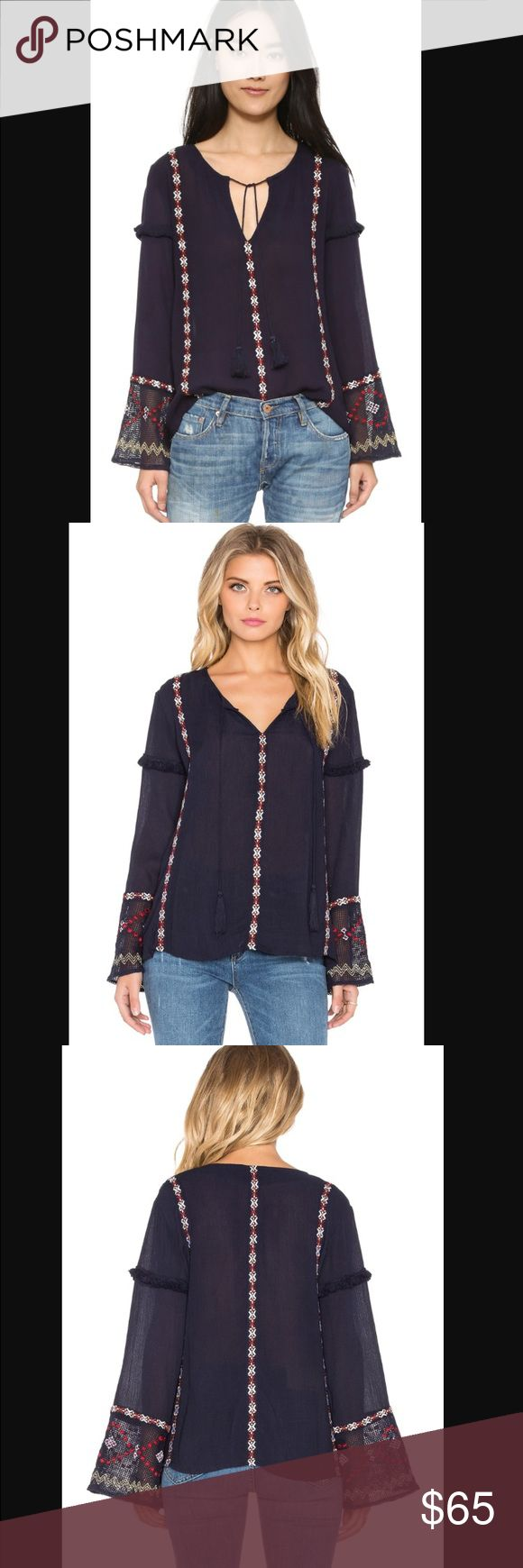 Tularosa Katarina top Cotton blend, front keyhole with tie closure, embroidered throughout, fringe trim accents, navy. Tularosa Tops Blouses