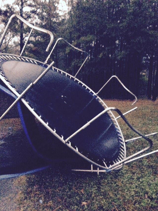Nothing like a trampoline flying at your head to get the blood pumping! That got real for a minute! #storm #problems