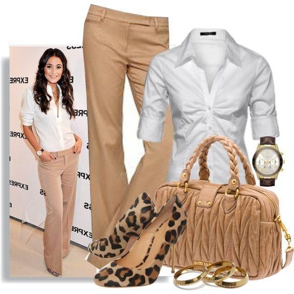 Women's @ Cottonpopsock - Khaki slacks & white top, animal print shoes