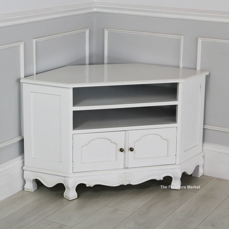 Best French Chateau White Painted Carved Corner Tv Cabinet 640 x 480