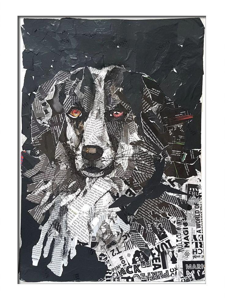paper collage, dog portrait, black and white picture