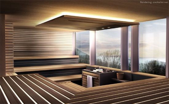 Sauna with a tranquil view.