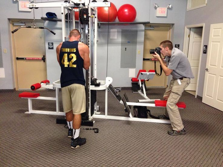 South Pike Fitness member and WVU football recruit Logan Thimons of Freeport Football working out while being photographed for the Valley News Dispatch.  July 2014