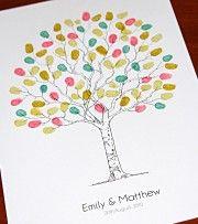Fingerprint guest book tree, wedding tree