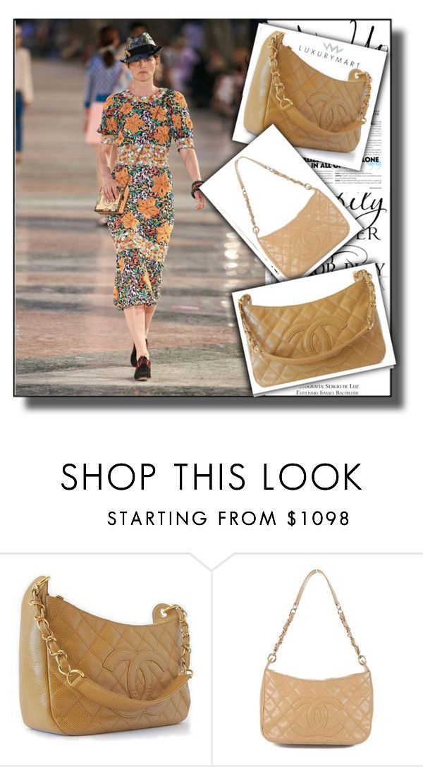 """""""Chanel Caviar Quilted Shoulder Bag Beige-luxurymart 3"""" by jnatasa ❤ liked on Polyvore featuring WALL and Chanel"""