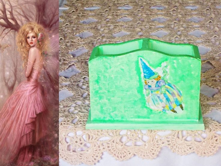 Portamatite portapenne in legno decorato con decoupage pittorico e paste ruvide brillanti di LadyBijouxHandmade su Etsy