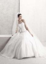 David's Bridal Wedding Dress: Petite Satin Bodice with Organza Skirt and Beading Style 7CT258