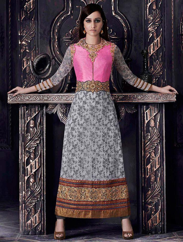 Stylish Grey, Pink Designer Embroidered Wedding Salwar Suit
