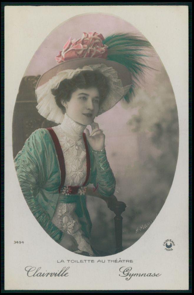 Clairville Lady Gymnase Edwardian Theatre Fashion dress 1910s photo postcard