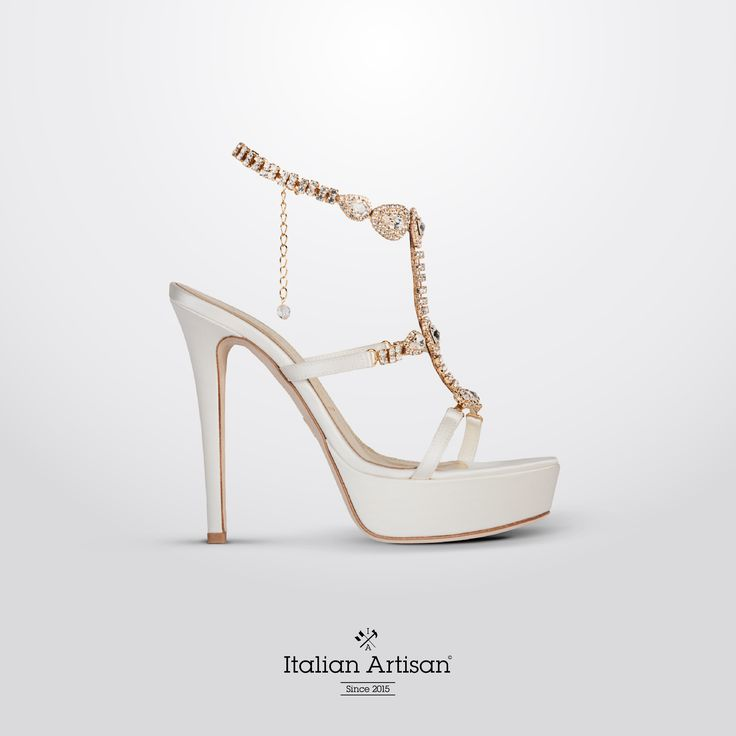 #JewelrySandal in satin avory with gorgeous #swarovski details providing an added touch of elegance The new gem for your #2016collection #handcrafted #bridalshoes #madeinitaly #italianartisan  www.italian-artisan.com