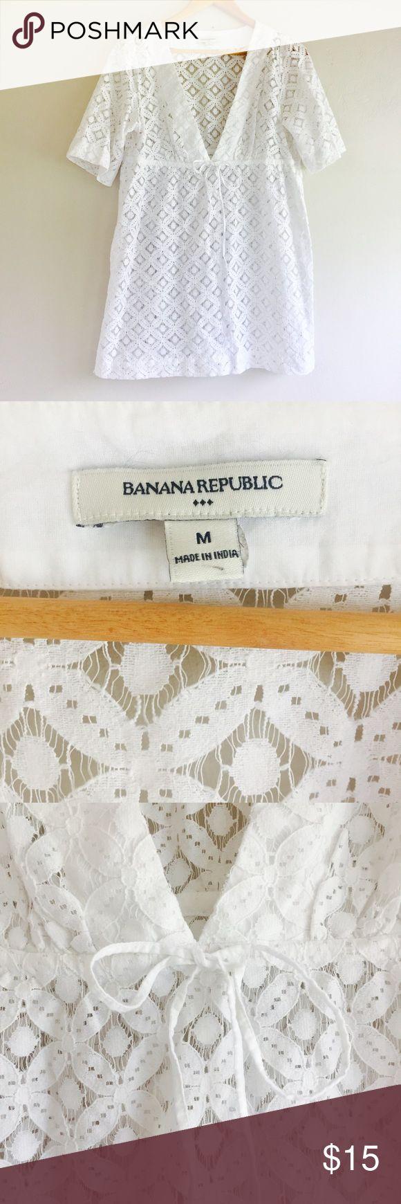 BANANA REPUBLIC White Crochet Swim Cover Up Dress BANANA REPUBLIC White V Neck Crochet Swim Cover Up Dress Tunic  Medium M Cotton, polyester blend Preowned good condition Banana Republic Swim Coverups