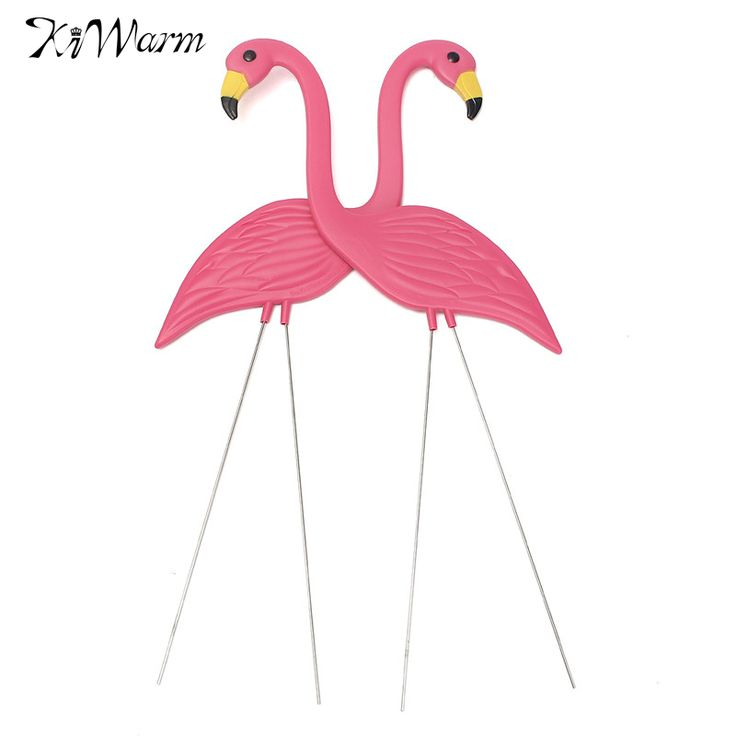 KiWarm Cute 2PCS Pink Flamingos Plastic Yard Garden Lawn Art Ornaments Retro for Home Holidays Party Decoration Gifts Craft